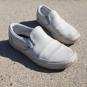 Vans Perforated White Leather Slip-ons